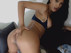 Super hot shemale playing her cock