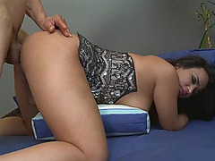 Busty tranny sucks off and anal rammed in doggystyle