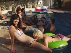 Shemale Babes Having A Pool Sex Party