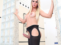 Big Boobies TS Nicole and a stud exchange ass hammer in hardcore