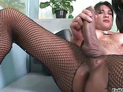 big dick tranny goddess is shooting hot cumload