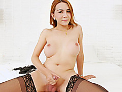 Asian ts Maria X shows off and jerk cock