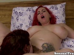 bigtits ginger shemale dominated with strapon