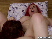 ginger shemale jerks while anally fingerfucked