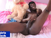 nubian transexual jerking her penis until spunk