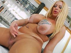 Chubby Latin Tgirl Masturbates