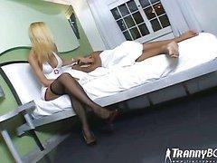 shemale nurse Renata Devilla on a lucky guy 1
