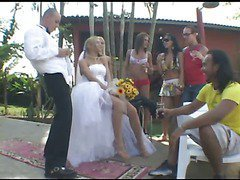 blonde shemale bride outdoors fucks her man 1