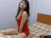 Luscious ladyboy in red satin dress strokes hairy shecock