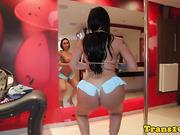 BTS tanlined chica tgirl posing in bikini
