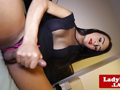 busty oriental tranny pulling her penis