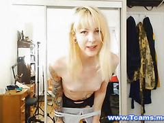 Cute Blonde Tranny Dildos Her Tight Ass