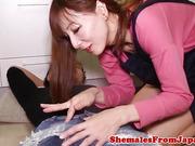 kinky homemaker jap tgirl gives sloppy bj
