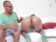 Latina shemale got her ass spunked