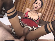Pretty asian tgirl gets her anal ripped by nasty dude