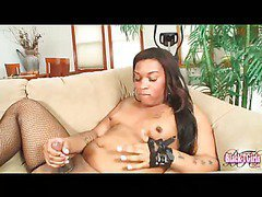 black shemale in fishnets plays her yummy dick