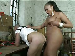 Horny shemale fucking a tied up man
