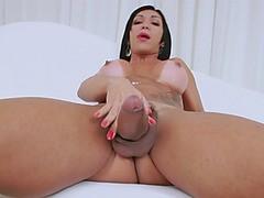 Bubble butt tranny teasing and jerking off her big hard dick
