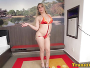 solo latina tgirl playing with her rod