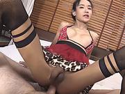 18 yo ladyboy gets her anal fucked bareback on the bed