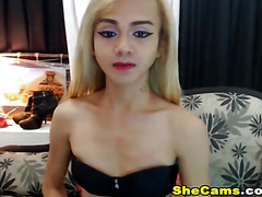 Sexy Shemale Pleasures Ass and Cock Until Cumshot