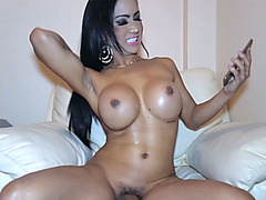Huge tits Cambodian ladyboy amateur plays with her dick