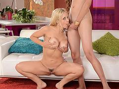 Super hot Sarah rides Venus cock and Venus slaps her round ass