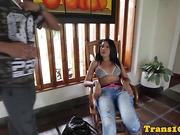 Brazilian transexual posing in sexy bikini bts