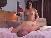 Small titted shemale Gina Hart fucked bald dude on the bed