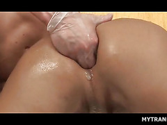 Stockinged tranny gets butt hole fisted