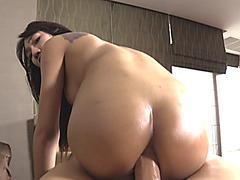 Seductive ladyboy asshole fucked bareback by huge cock