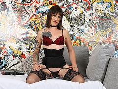 Pixie Tgirl Lena Jade dares to stuff a long dildo into her ass