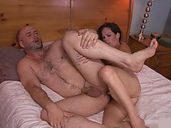 Kinky shemale Gina Hart gives head and fucked bald dude
