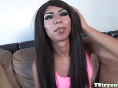 black trannie rubbing dick on the casting couch