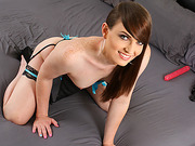 Tgirl vixxen Natalie swallows a sex toy and inserts into her hole