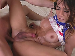 Busty shemale Jaqueline Dark gets her ass fucked bareback