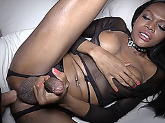 Ebony ladyboy gets her ass bareback penetrated to the hilt