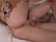 Sexy blonde tranny fucked perverted man bareback in bed