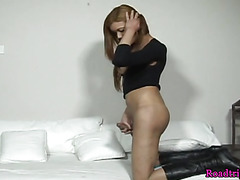 Masturbating shemale in solo action