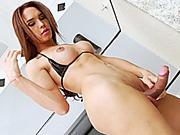 Big tits Brazilian ts Kalliny Nomura jerks off her big cock