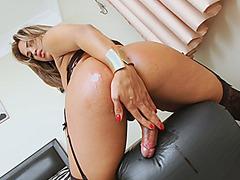 Stunning busty shemlae masturbates her fat hard cock