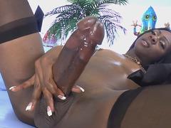 Black Tgirl Kourtney Dash Strokes Her Big Cock