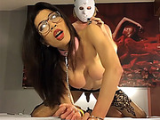 Kinky ladyboy with glasses fetish blowjob and anal doggy