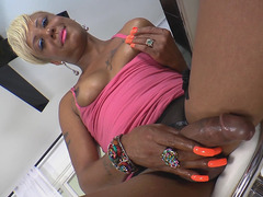 Black TS Babe Holly Hung Pleases Herself