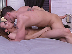 Latina TS girl Savannah Thorne gets anal fucked on the bed by Roman Todd cock
