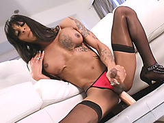 Busty tattooed tgirl toying her asshole while jerking