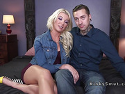 Tranny with condom anal bangs inked guy