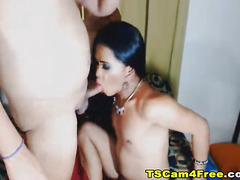 Two Nasty Trannies Sucking Each Other and Jerking Off