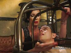 Tranny seduces guy in cage